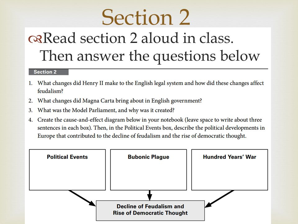 Section 2 Read section 2 aloud in class. Then answer the questions below