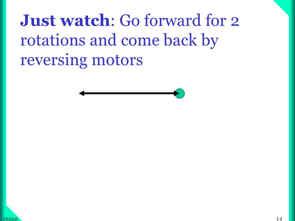 Just watch: Go forward for 2 rotations and come back by reversing motors