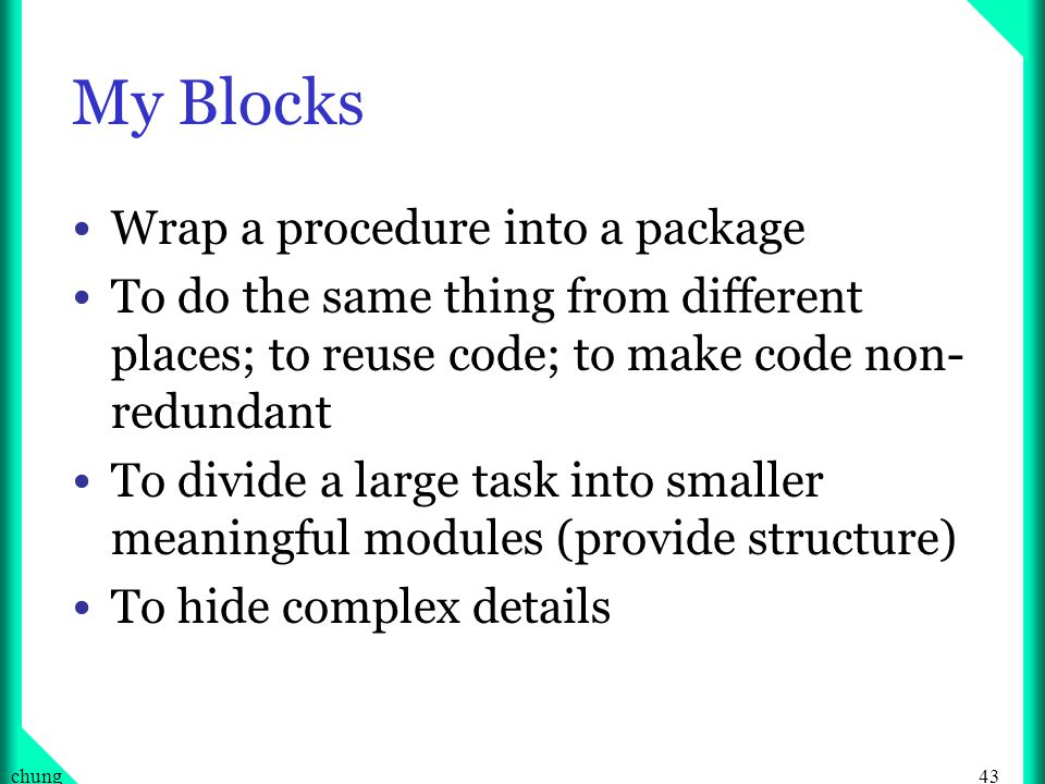 My Blocks Wrap a procedure into a package