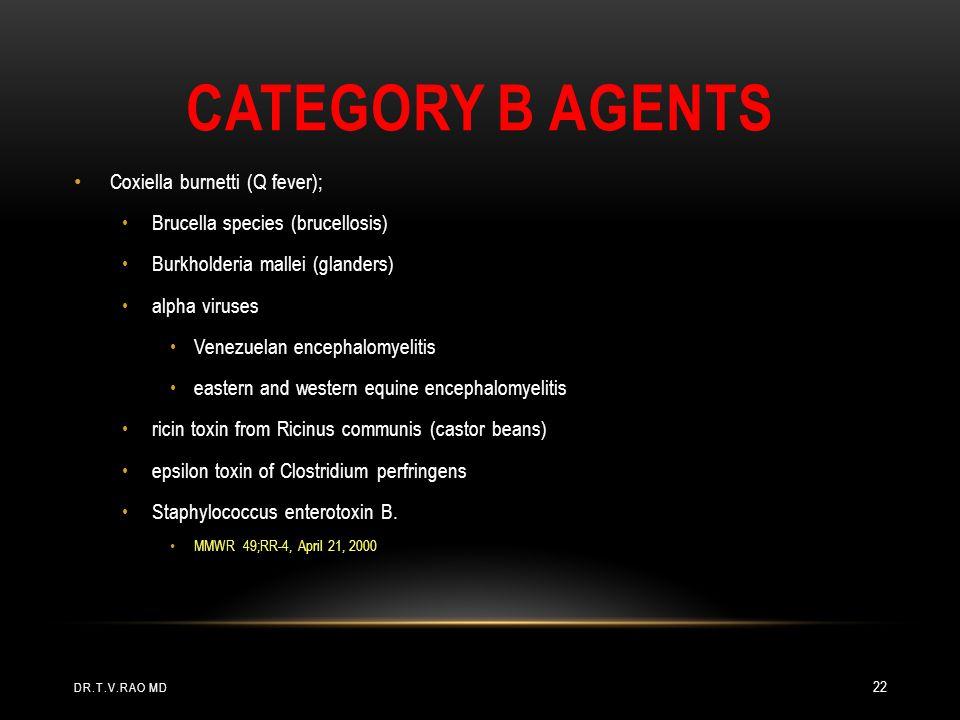 Category B agents Coxiella burnetti (Q fever);