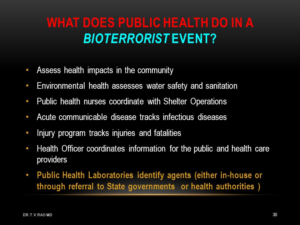 What does Public Health Do in a Bioterrorist Event