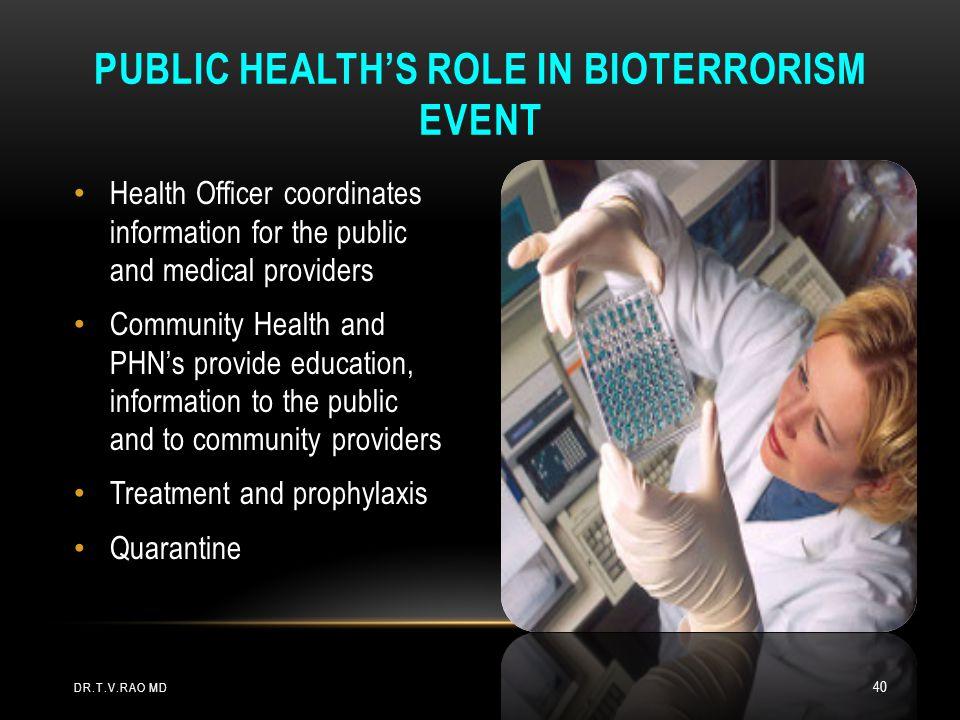 Public Health's Role in Bioterrorism Event