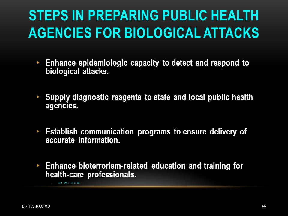 Steps in Preparing Public Health Agencies for Biological Attacks