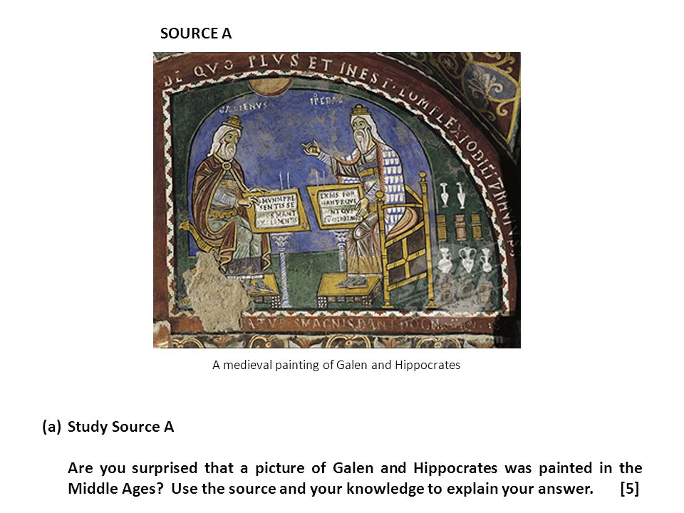 A medieval painting of Galen and Hippocrates
