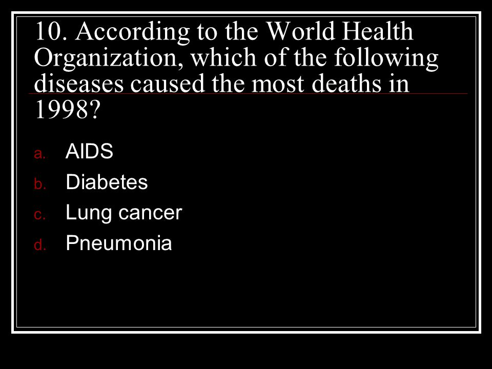 10. According to the World Health Organization, which of the following diseases caused the most deaths in 1998
