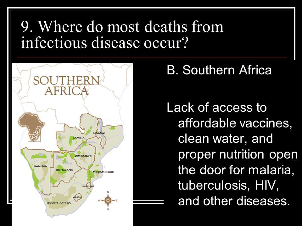 9. Where do most deaths from infectious disease occur