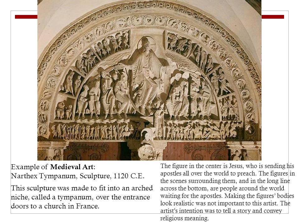 Example of Medieval Art: Narthex Tympanum, Sculpture, 1120 C.E.