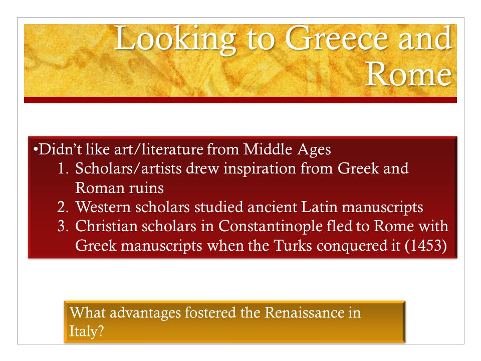 Looking to Greece and Rome