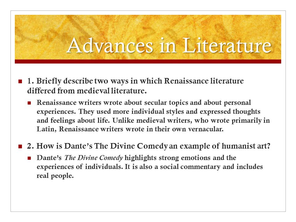 Advances in Literature