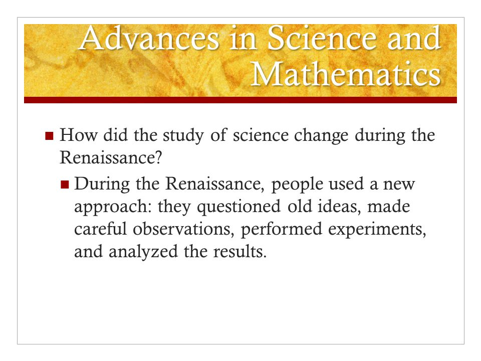 Advances in Science and Mathematics