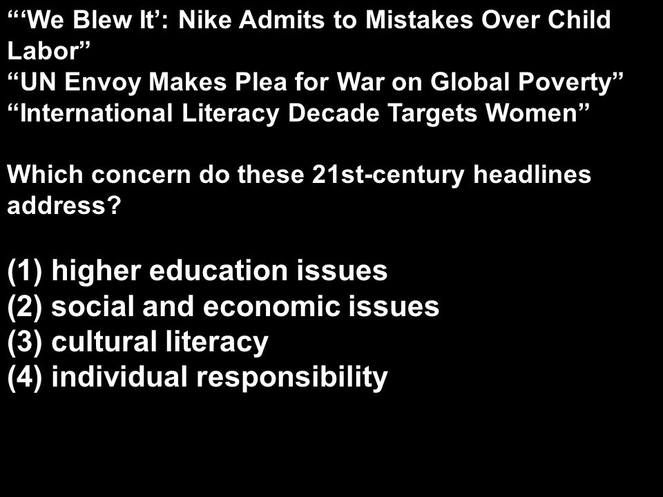 (1) higher education issues (2) social and economic issues