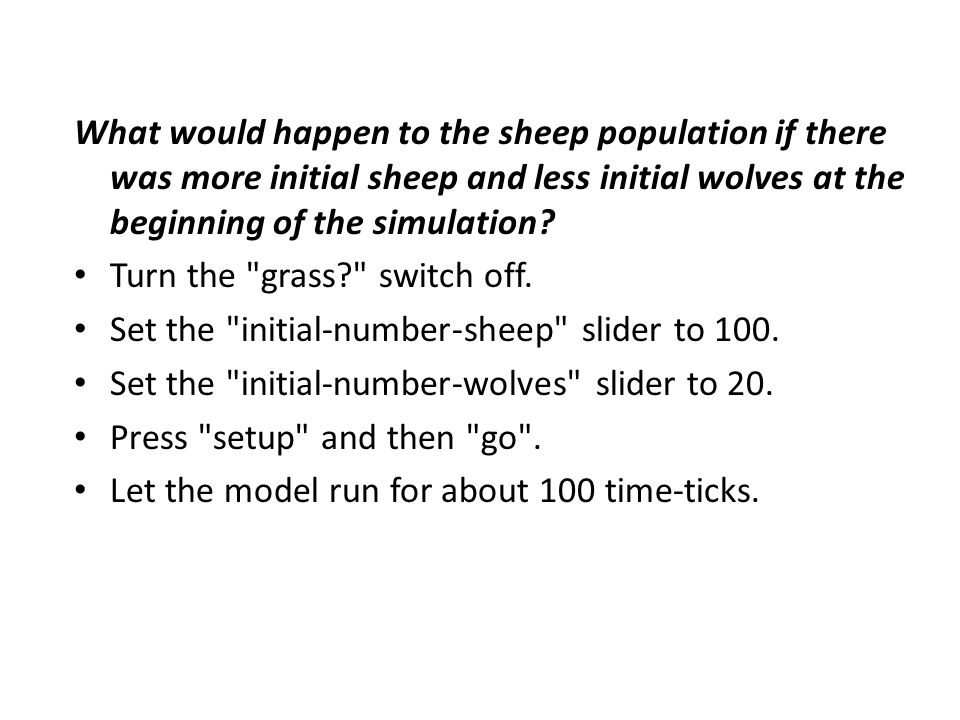 What would happen to the sheep population if there was more initial sheep and less initial wolves at the beginning of the simulation