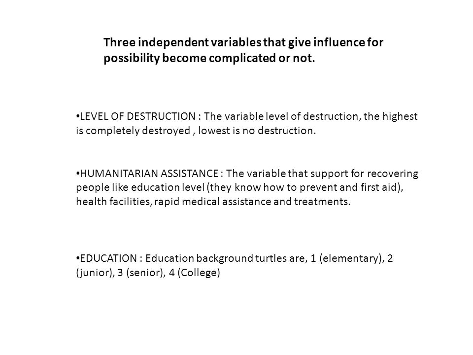 Three independent variables that give influence for possibility become complicated or not.