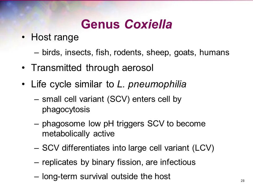 Genus Coxiella Host range Transmitted through aerosol