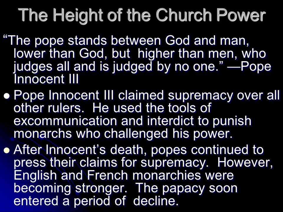 The Height of the Church Power