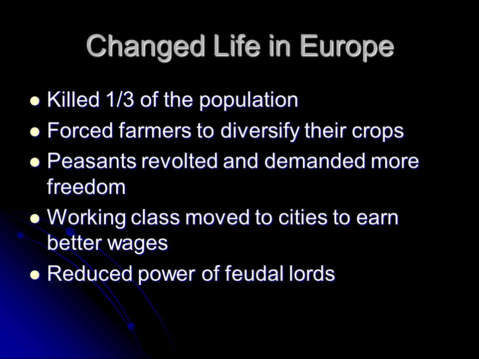 Changed Life in Europe Killed 1/3 of the population