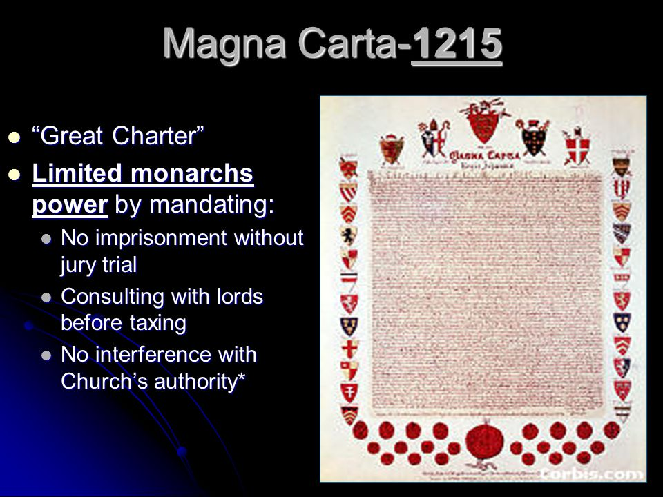 Magna Carta-1215 Great Charter Limited monarchs power by mandating: