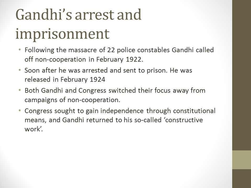 Gandhi's arrest and imprisonment
