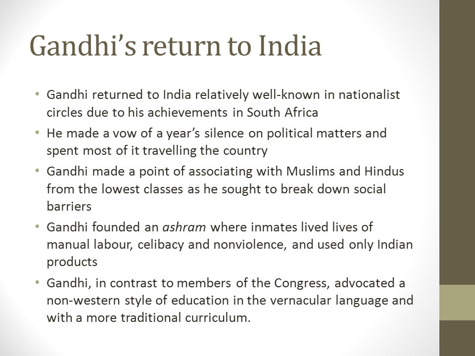 Gandhi's return to India