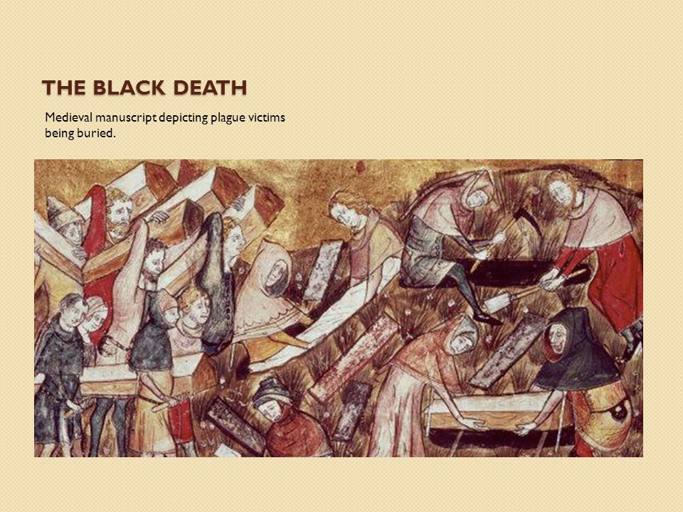 The Black Death Medieval manuscript depicting plague victims being buried.