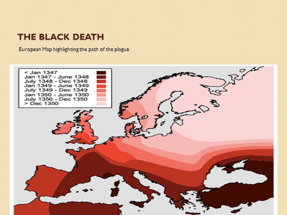The Black Death European Map highlighting the path of the plague