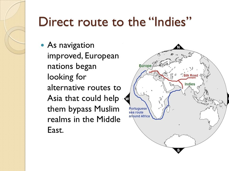 Direct route to the Indies