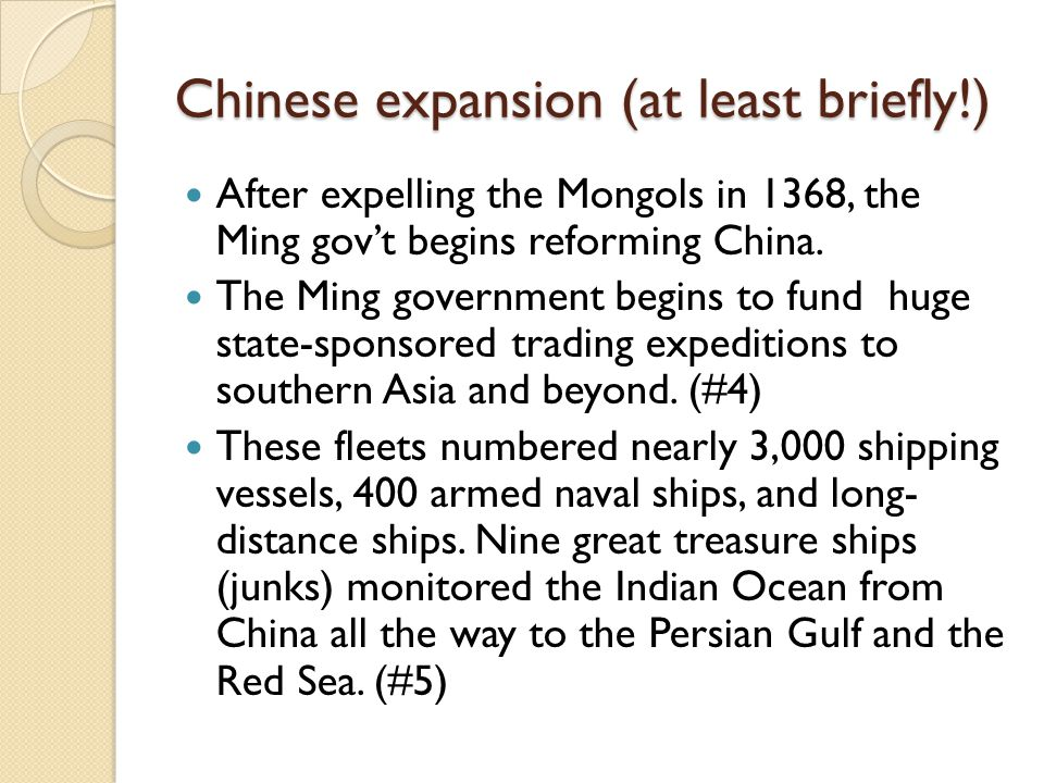 Chinese expansion (at least briefly!)