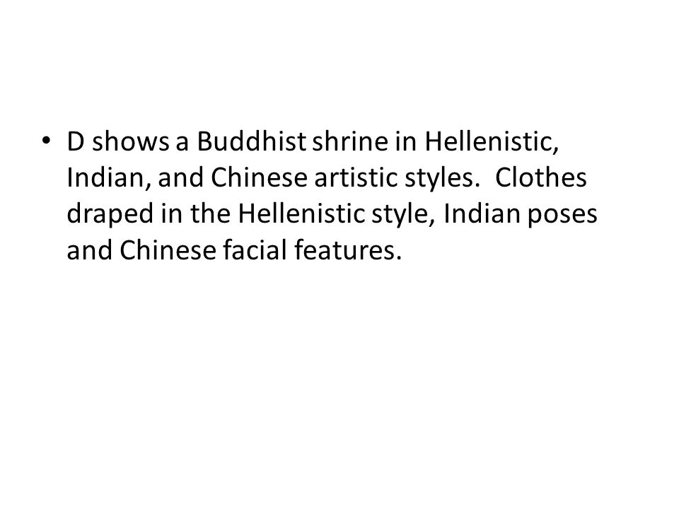 D shows a Buddhist shrine in Hellenistic, Indian, and Chinese artistic styles.