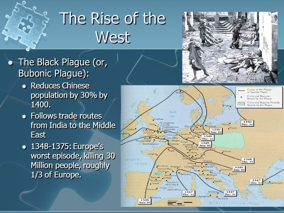 The Rise of the West The Black Plague (or, Bubonic Plague):
