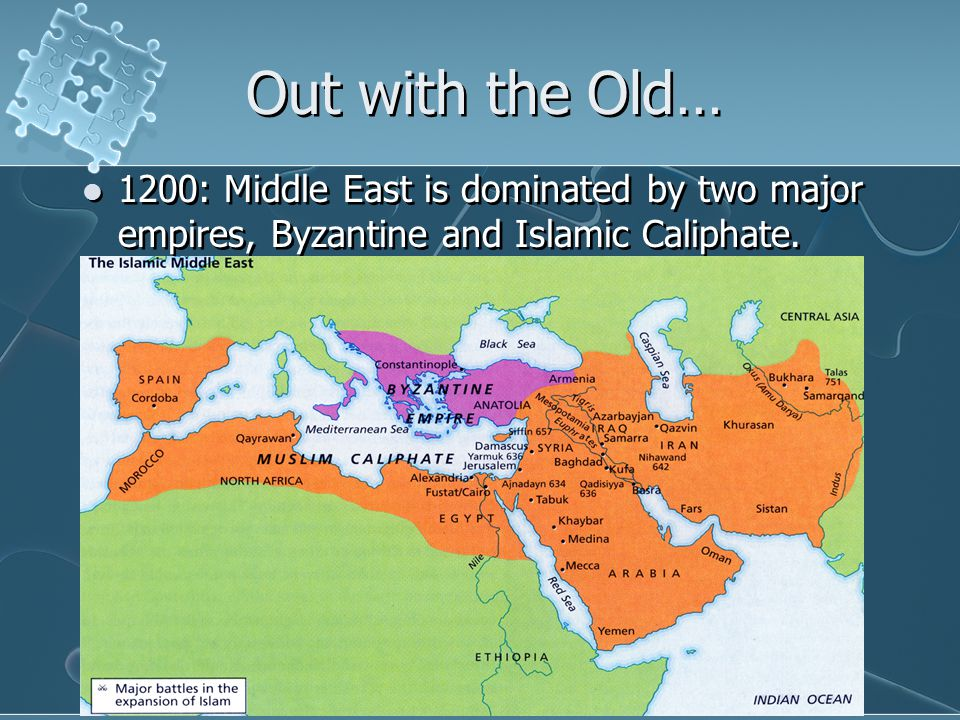 Out with the Old… 1200: Middle East is dominated by two major empires, Byzantine and Islamic Caliphate.