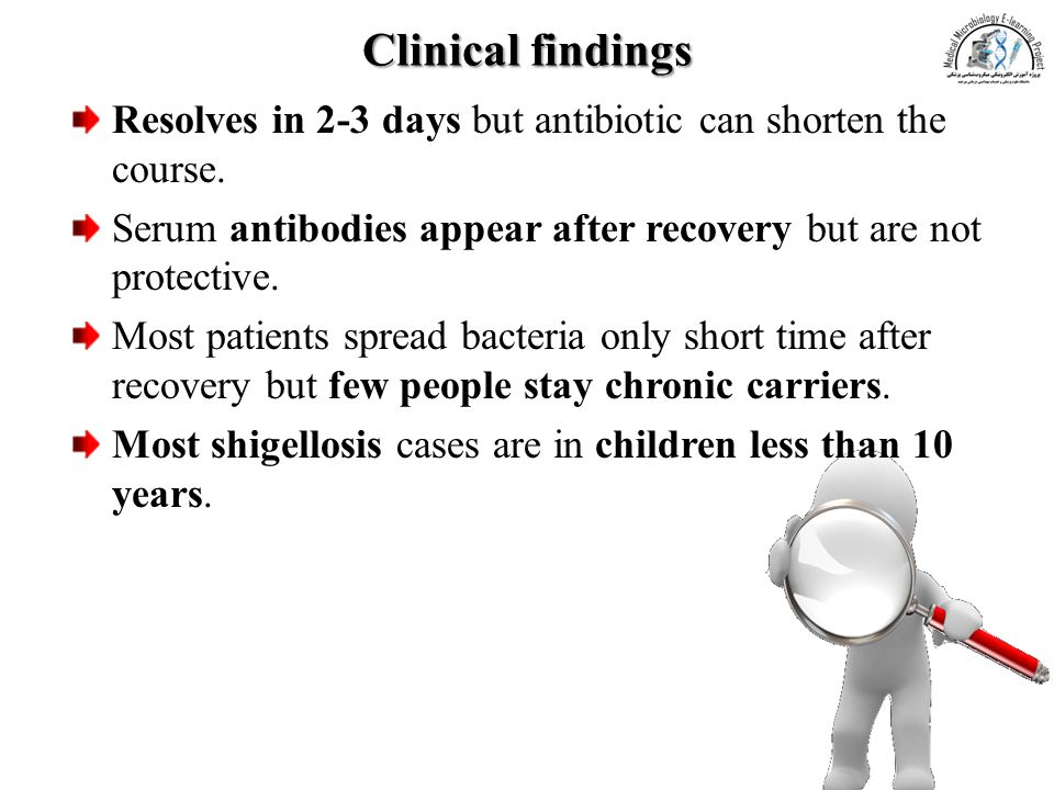 Clinical findings Resolves in 2-3 days but antibiotic can shorten the course. Serum antibodies appear after recovery but are not protective.