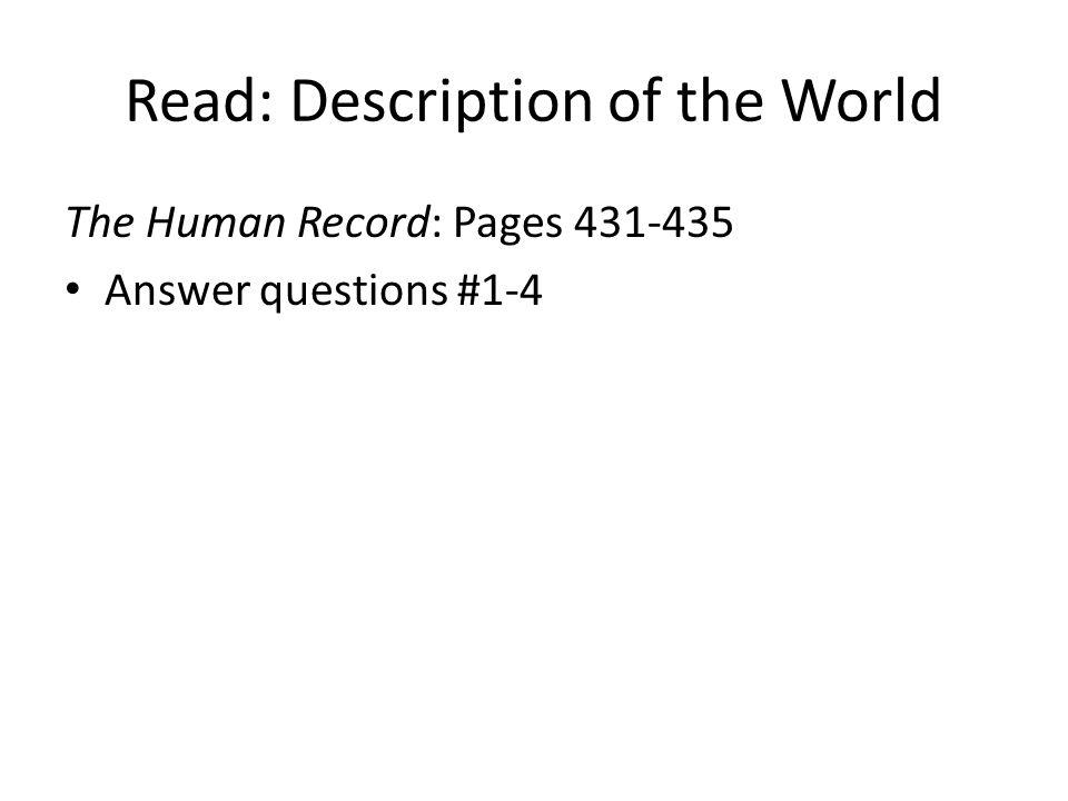 Read: Description of the World
