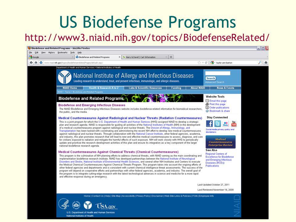 US Biodefense Programs http://www3. niaid. nih