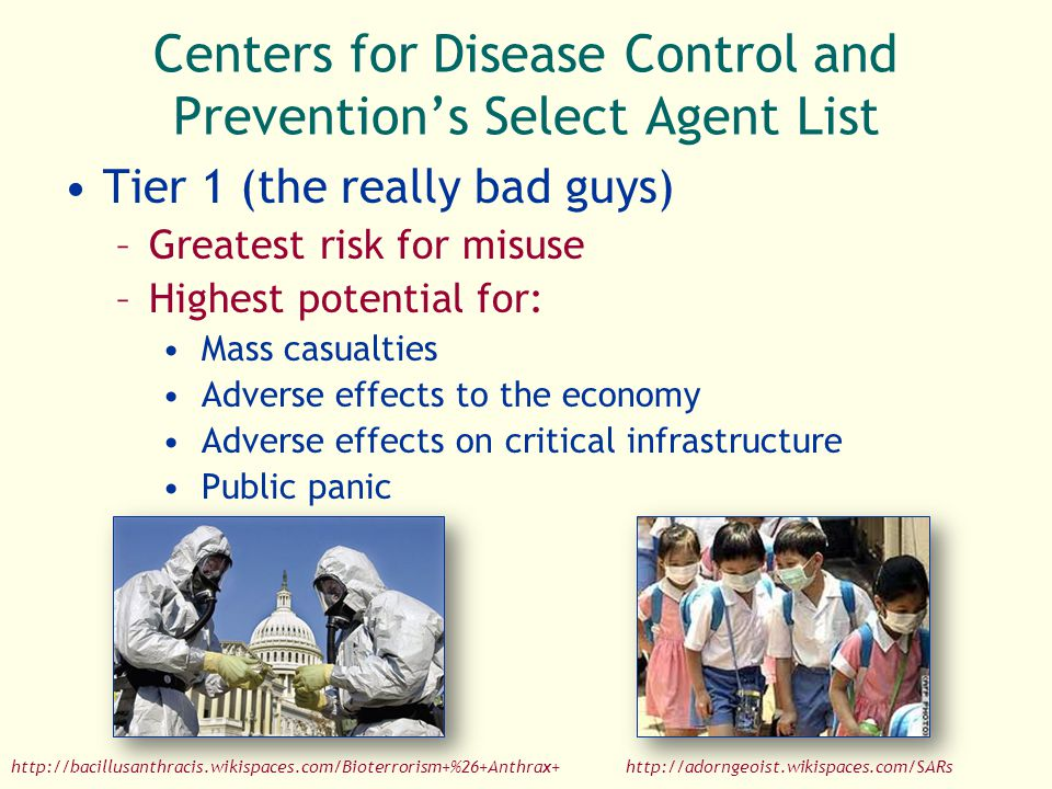 Centers for Disease Control and Prevention's Select Agent List