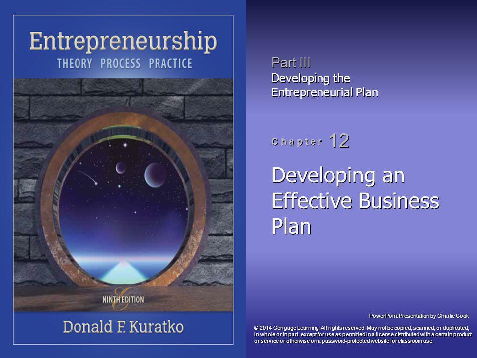 Developing an Effective Business Plan