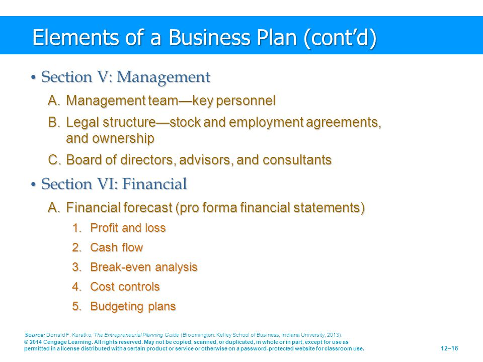 Elements of a Business Plan (cont'd)