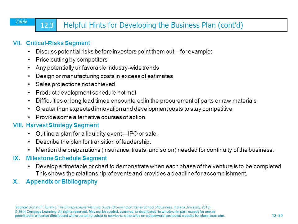 Table 12.3 Helpful Hints for Developing the Business Plan (cont'd)