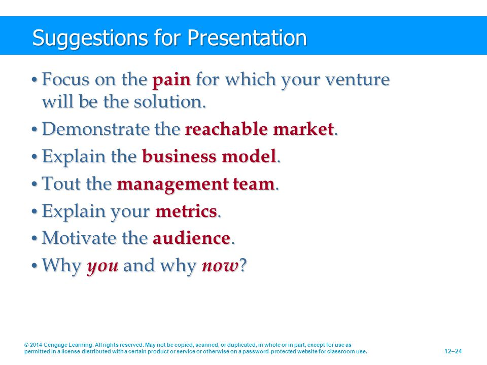Suggestions for Presentation