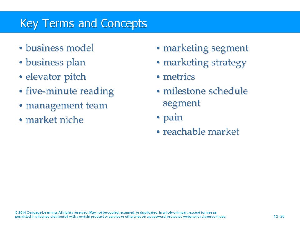 Key Terms and Concepts business model business plan elevator pitch