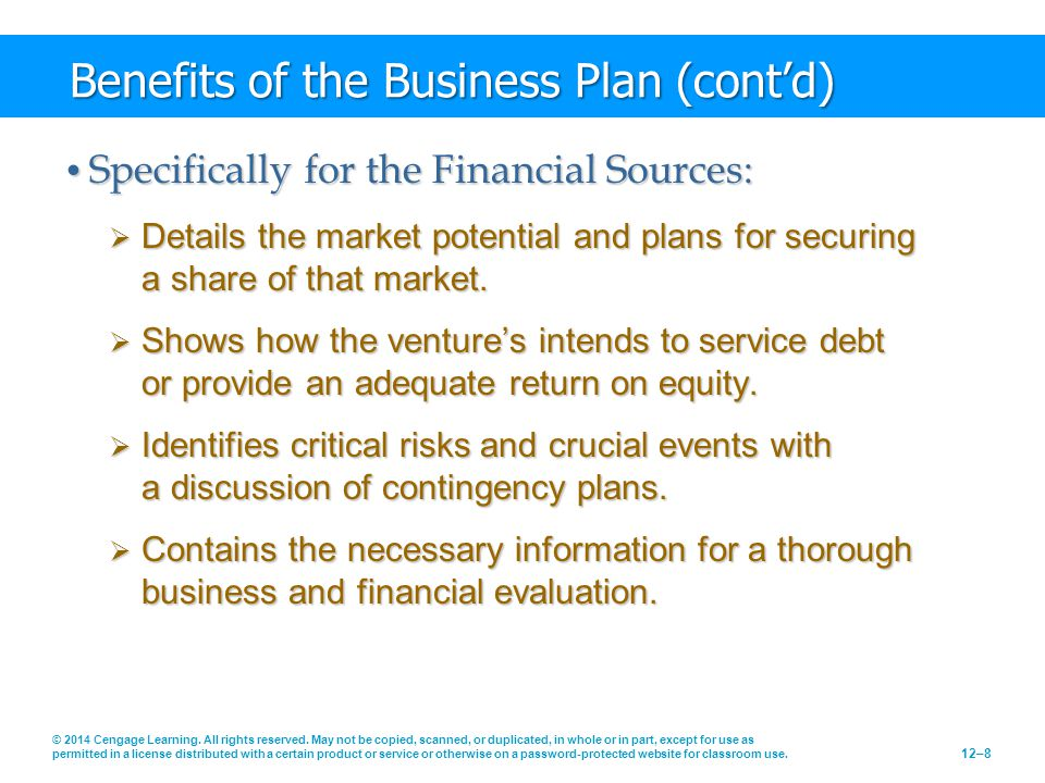 Benefits of the Business Plan (cont'd)