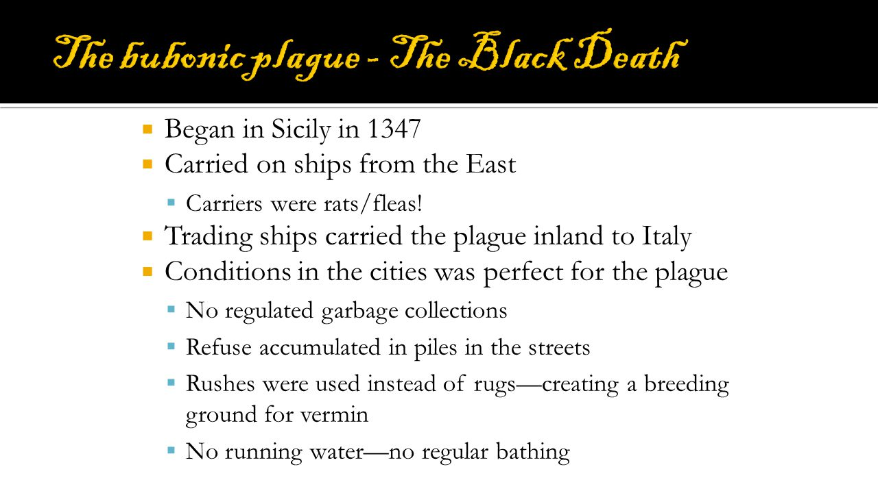 The bubonic plague - The Black Death