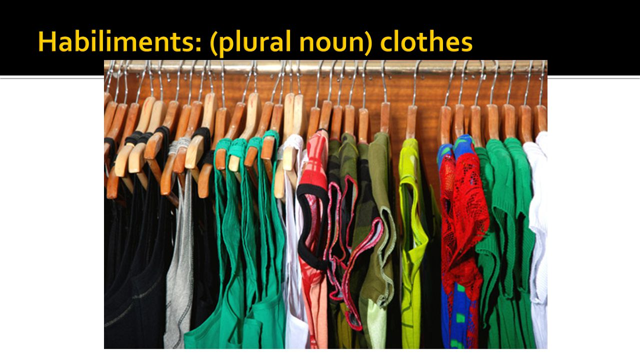 Habiliments: (plural noun) clothes
