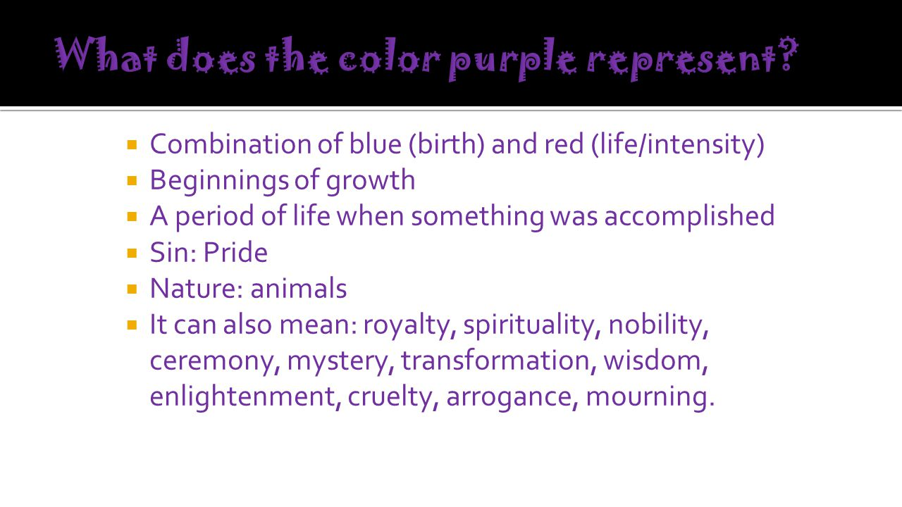 What does the color purple represent