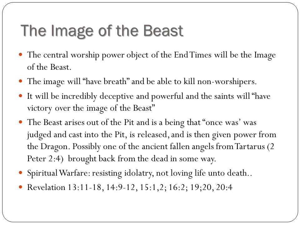 The Image of the Beast The central worship power object of the End Times will be the Image of the Beast.