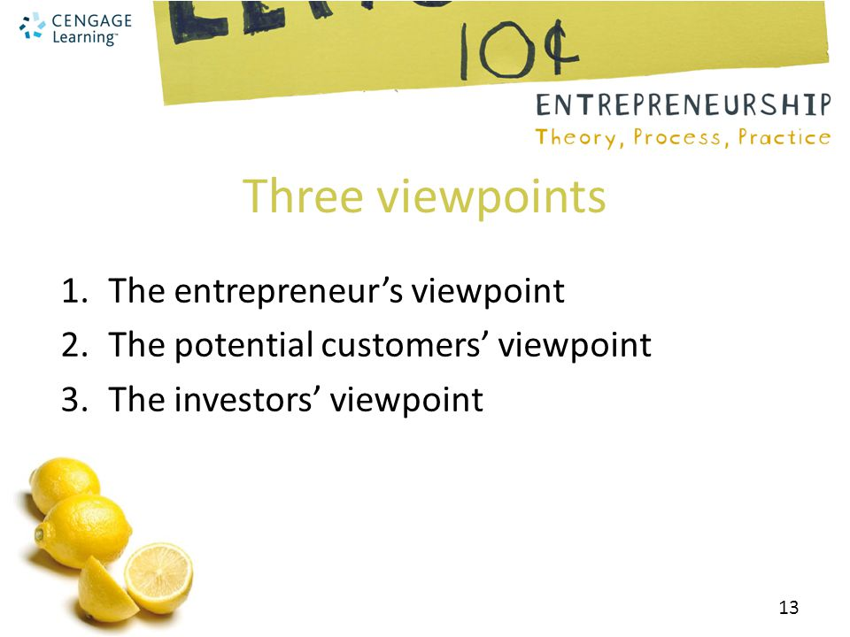 Three viewpoints The entrepreneur's viewpoint