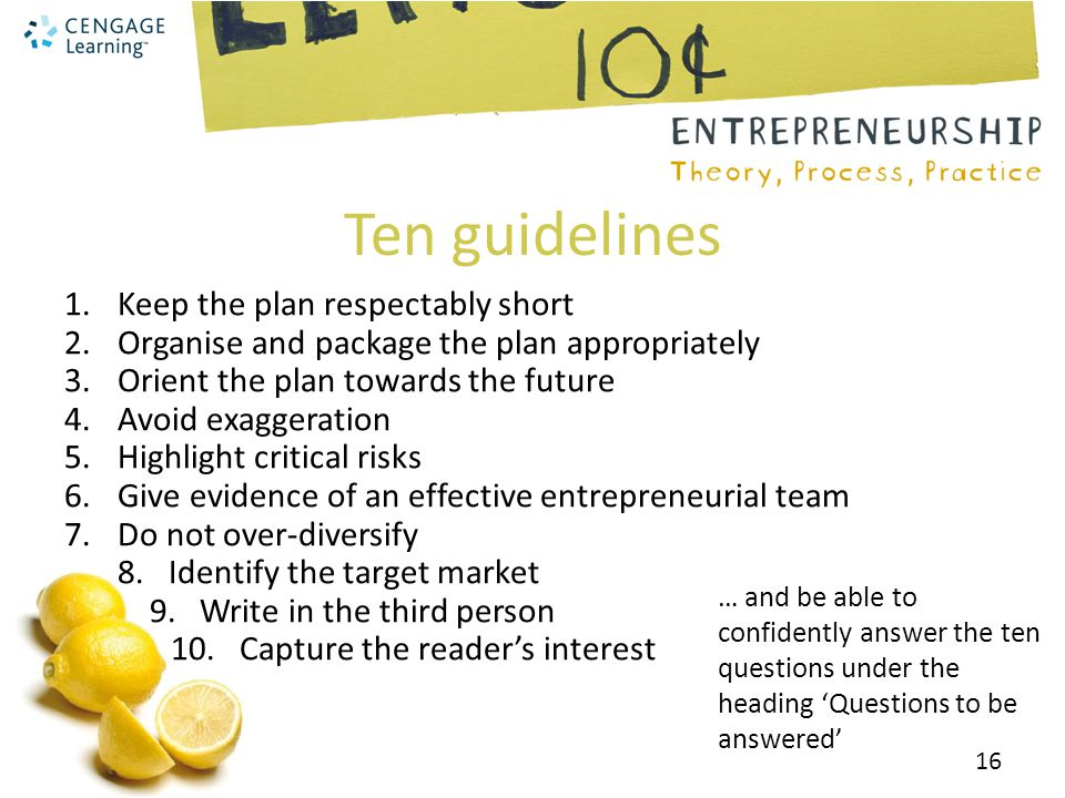 Ten guidelines Keep the plan respectably short