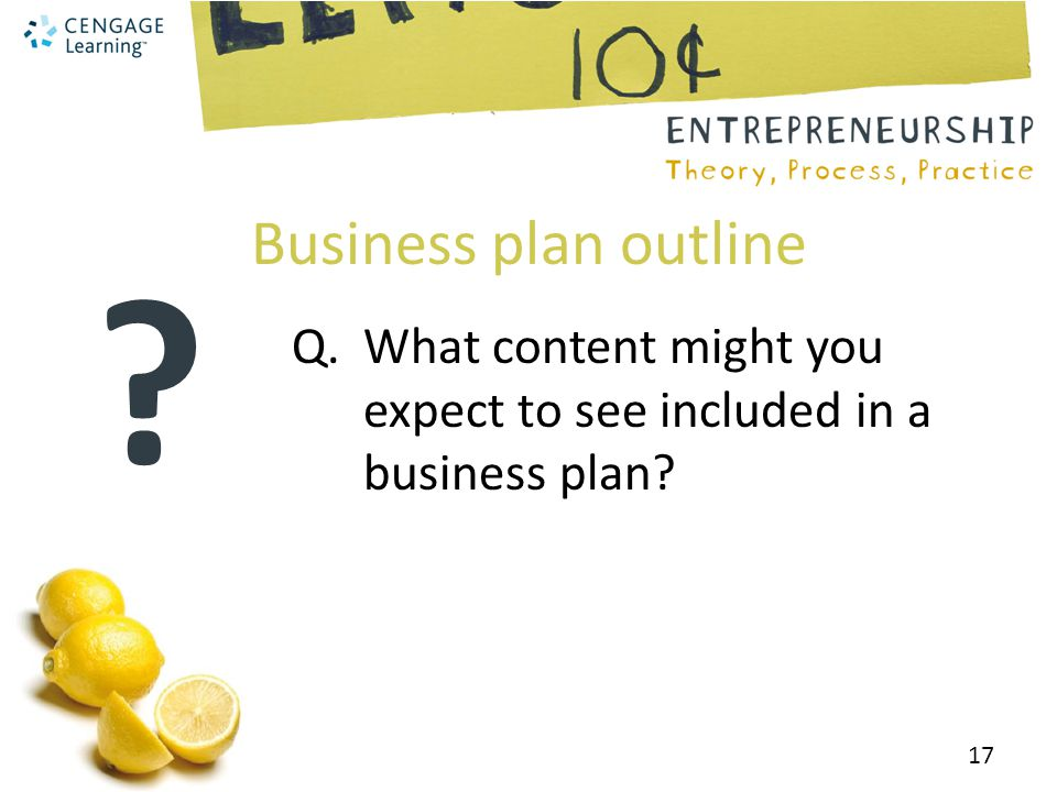 Business plan outline Q. What content might you expect to see included in a business plan