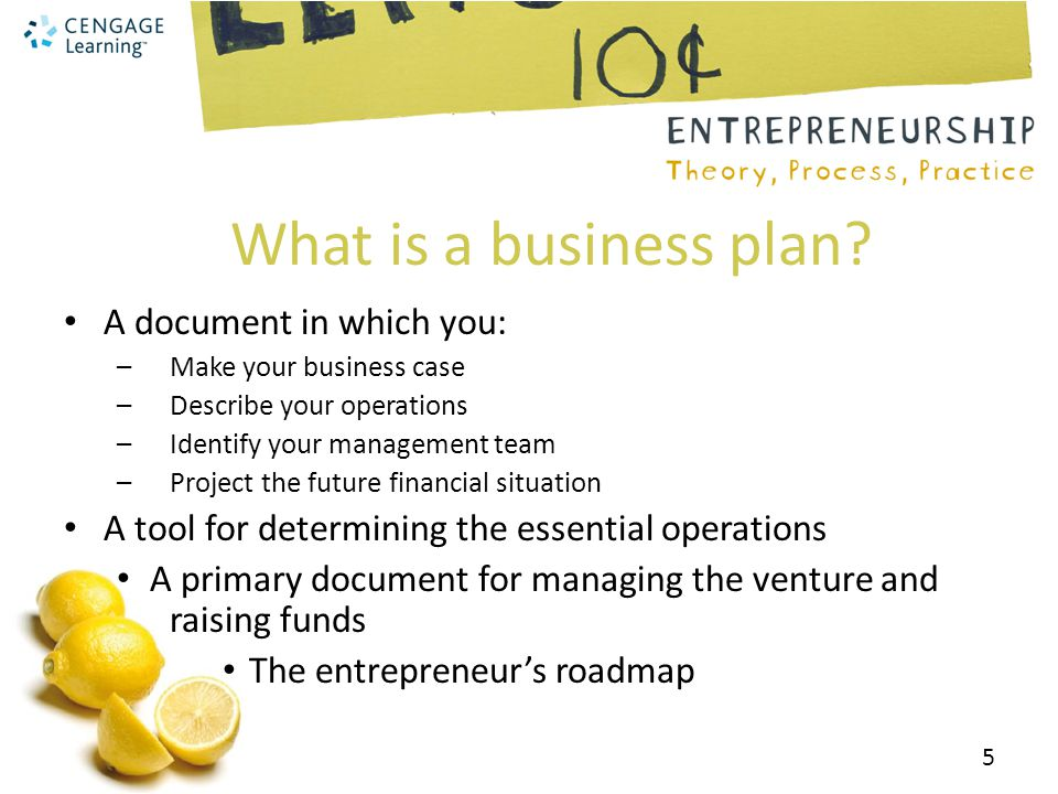 What is a business plan A document in which you: