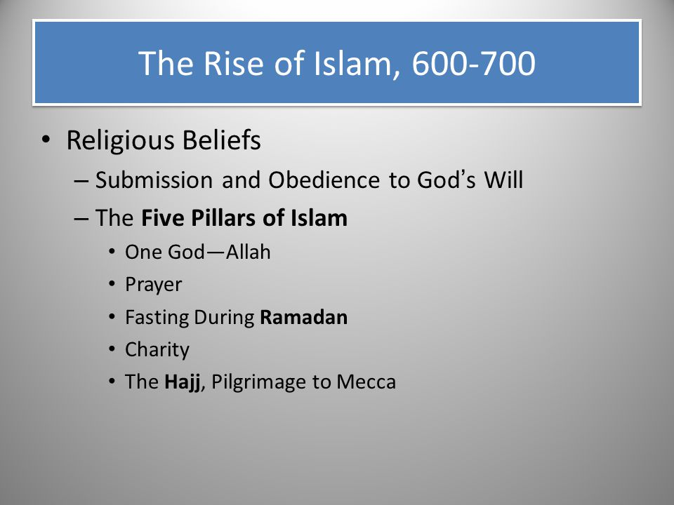 The Rise of Islam, 600-700 Religious Beliefs