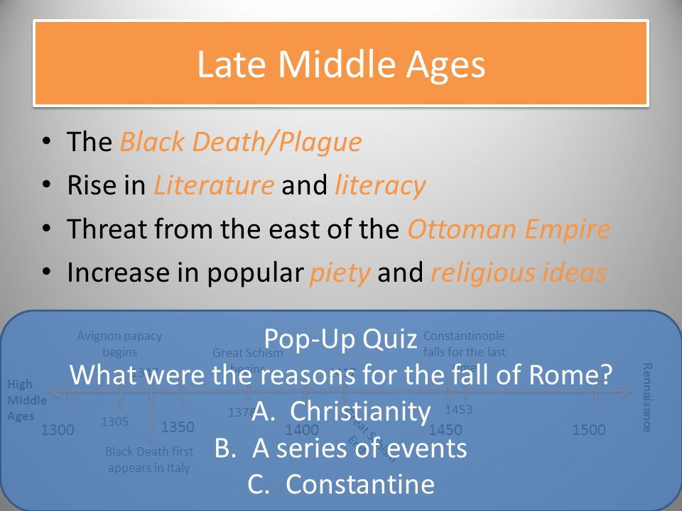 Late Middle Ages The Black Death/Plague